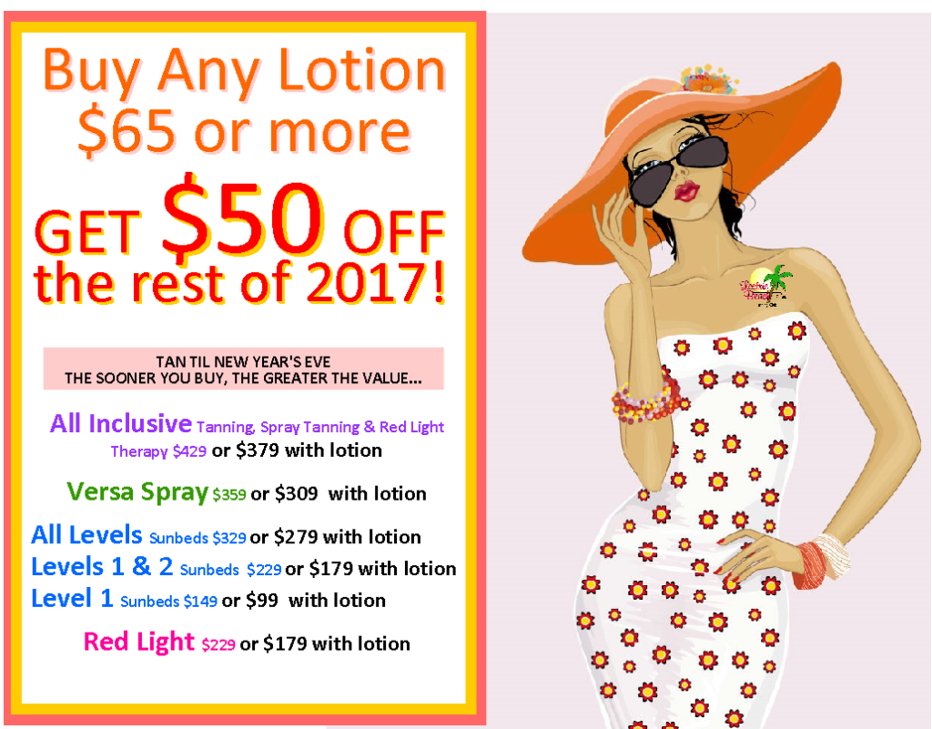 $50 Off 2017 with $65 Lotion
